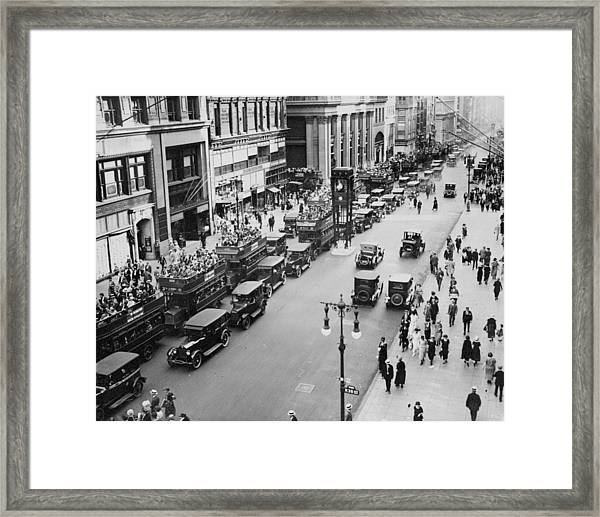 Traffic On Fifth Avenue In 1923 Framed Print