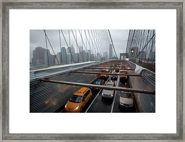 Traffic On The Brooklyn Bridge, New Framed Print