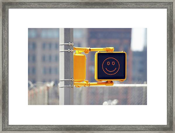 Traffic Sign With Smiley Face Framed Print