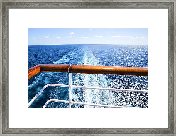 Trail On Water Surface Behind Of Cruise Framed Print