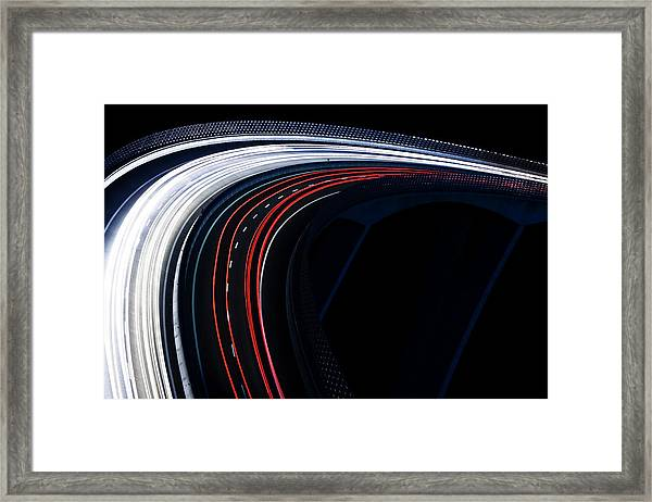 Trails For A Traffic Light On A Black Framed Print by Gaspr13