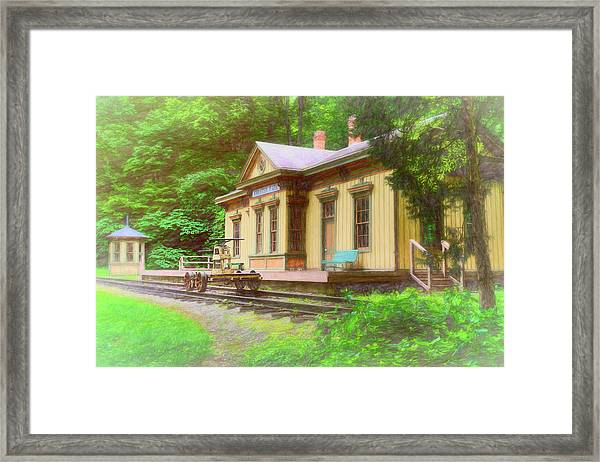 Train Depot With Hand Car Framed Print