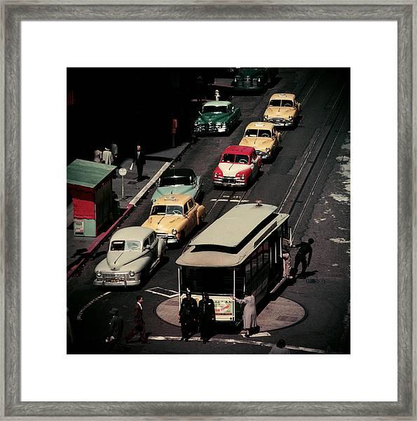 Tram Turntable Framed Print by Slim Aarons