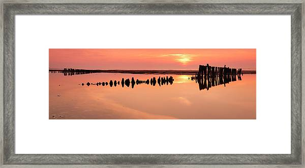 Tranquil Coastal Sunrise With Old Framed Print by Avtg