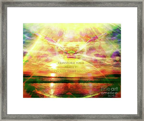 Framed Print featuring the digital art Transform Your Reality by Atousa Raissyan