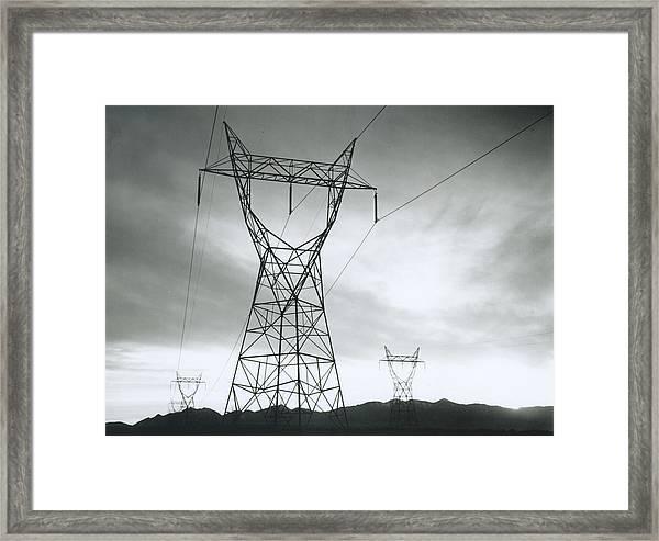 Transmission Lines In Mojave Desert Framed Print