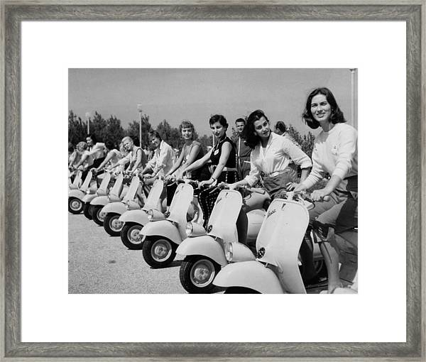 Transport. Scooters. Pic Circa 1955. A Framed Print by Popperfoto