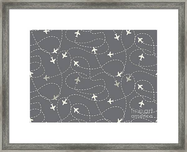 Travel Around The World Airplane Routes Framed Print