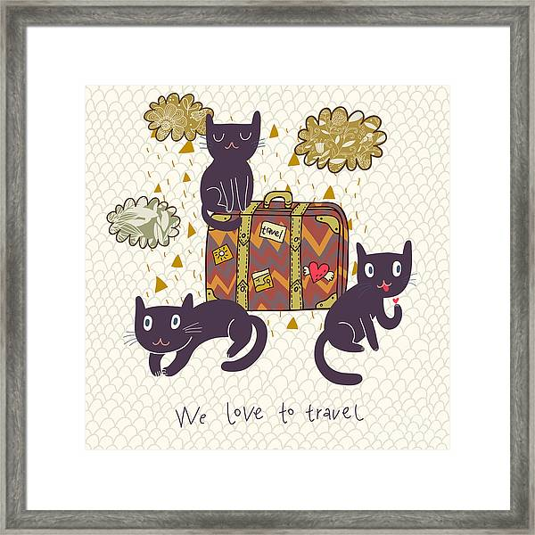Travel Concept. Cute Cats And Suitcase Framed Print