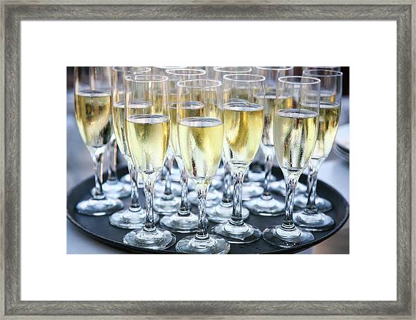 Tray Of Champagne Glasses Framed Print