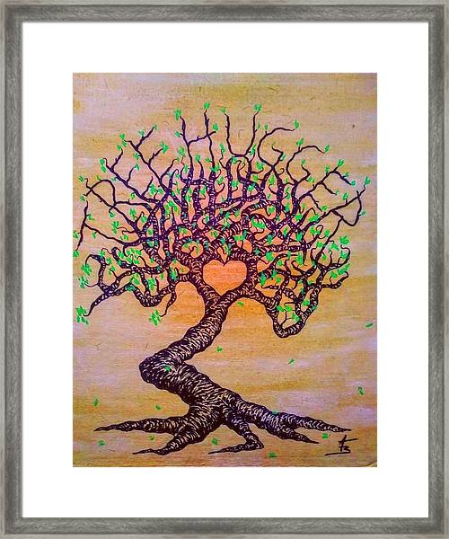 Framed Print featuring the drawing Tree Hugger Love Tree W/ Foliage by Aaron Bombalicki