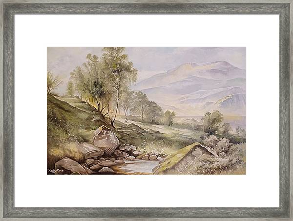 Framed Print featuring the painting Trees Scenery  by Said Marie