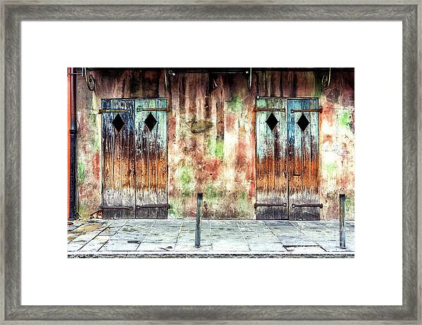 Triangle Doors At Preservation Hall In New Orleans Framed Print