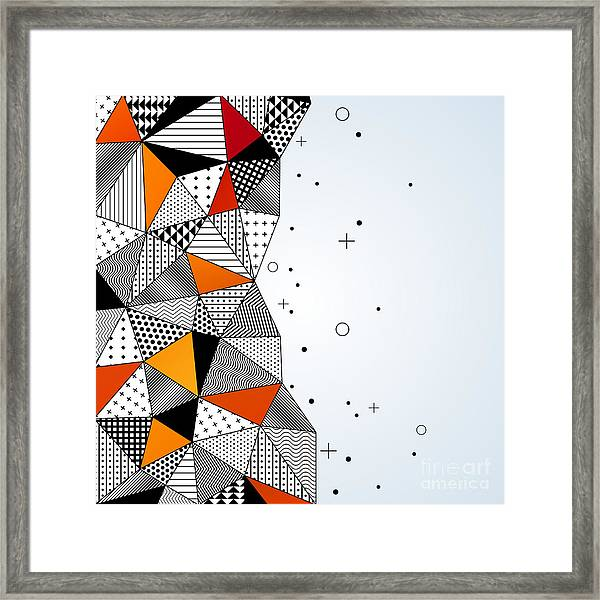 Triangle Pattern Background. Vector Framed Print