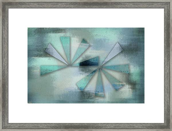 Triangles On Blue Grey Backdrop Framed Print