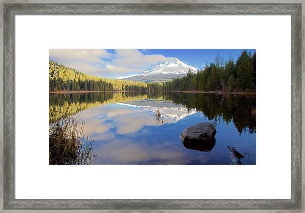 Trillium Lake Morning Reflections Framed Print
