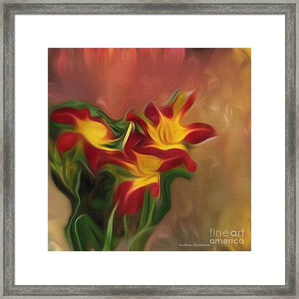 Trio Of Day Lilies Framed Print