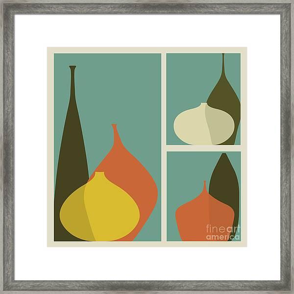 Triptych Of Vases Framed Print