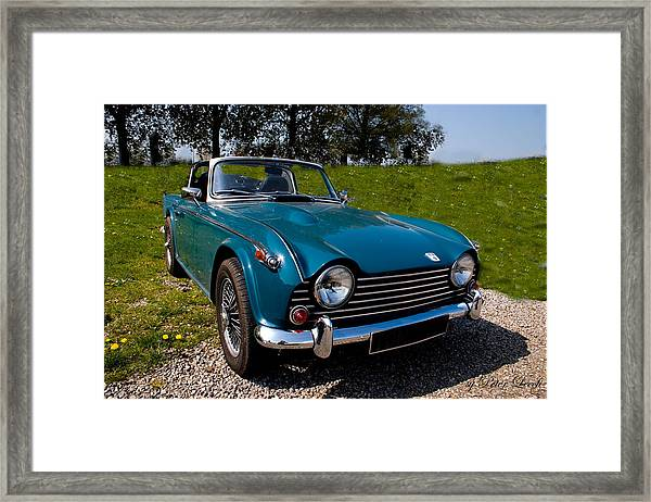 Triumph Tr5 Blue Framed Print