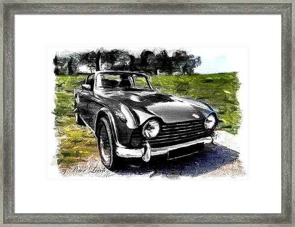 Triumph Tr5 Monochrome With Brushstrokes Framed Print