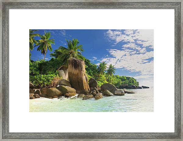 Tropical Beach Anse Royale Framed Print