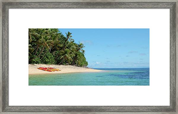 Tropical Beach Island Kayaking Framed Print by Opulent-images