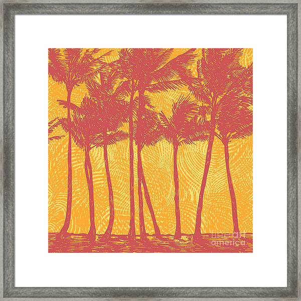 Tropical Coast With Palms. Vector Framed Print
