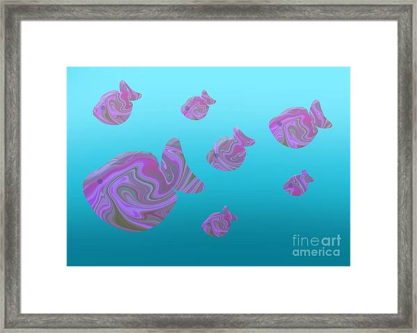 Tropical Fish In Pink Psychedelic Pattern Framed Print