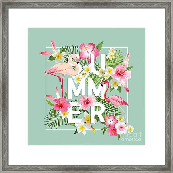 Tropical Flowers Background. Summer Framed Print