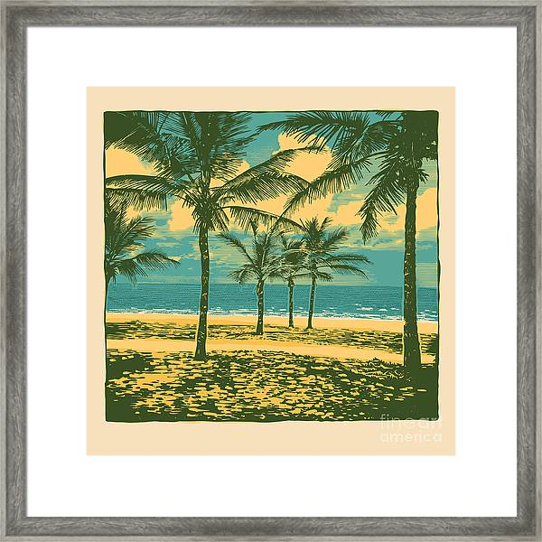 Tropical Idyllic Landscape With Palms Framed Print