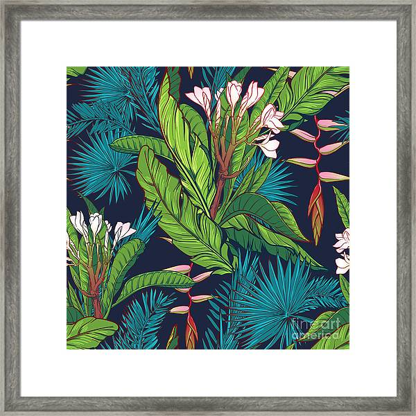 Tropical Jungle Seamless Pattern On Framed Print