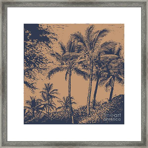 Tropical Landscape With Palms Trees Framed Print