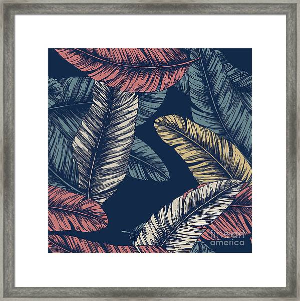 Tropical Palm Leaves. Seamless Pattern Framed Print