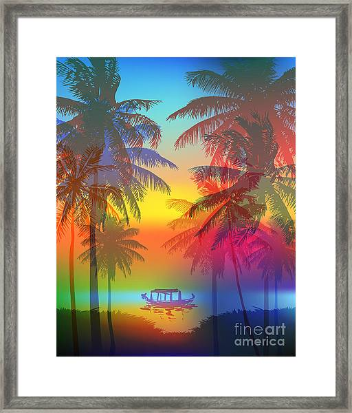 Tropical Sunset On Palm Beach And Framed Print