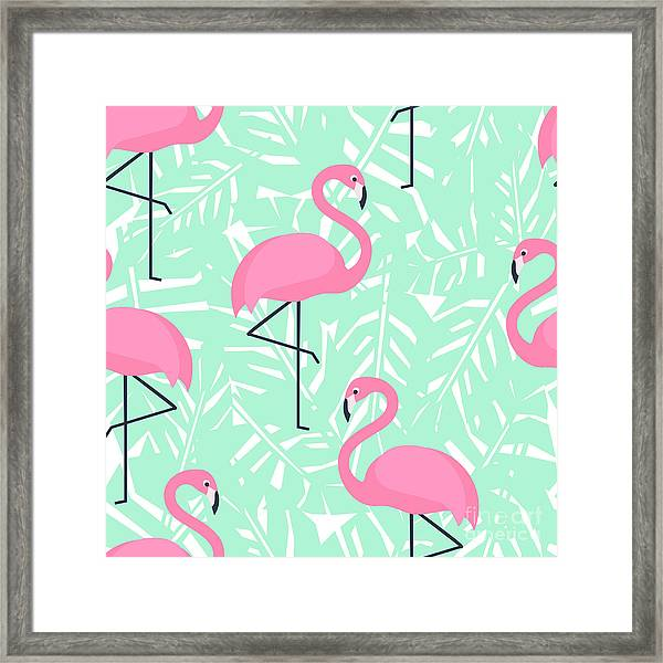 Tropical Trendy Seamless Pattern With Framed Print