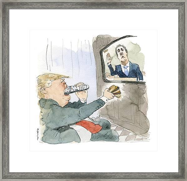 Trump Bites Remote Framed Print by Barry Blitt