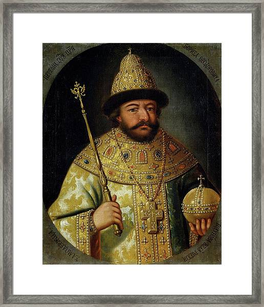 Tsar Boris Godunov -1598-1605- By Unknown Artist, Xviith Century. Framed Print