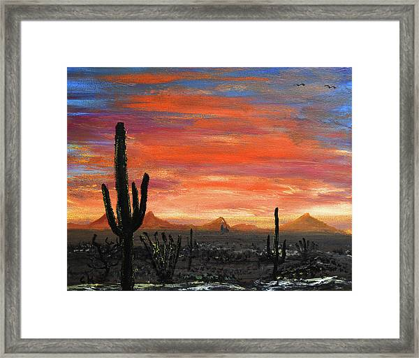 Framed Print featuring the painting Tucson Mountains At Sunset by Chance Kafka