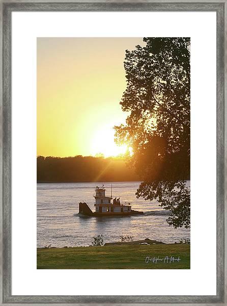 Tugboat On Mississippi River Framed Print