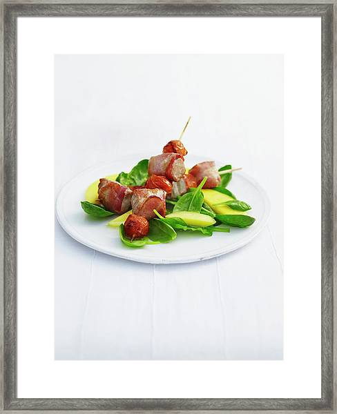Tuna And Bacon Kebabs With Spinach And Framed Print
