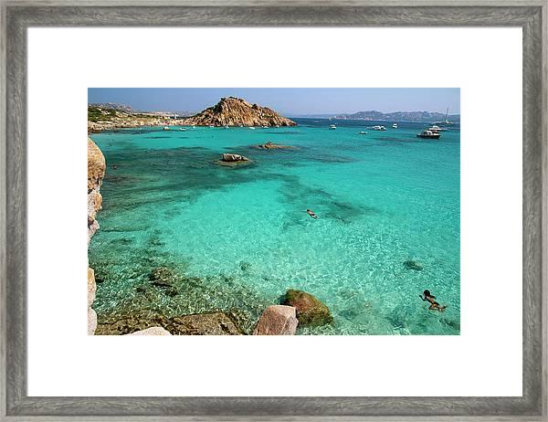 Turquoise Sea And Boats At La Maddalena Framed Print