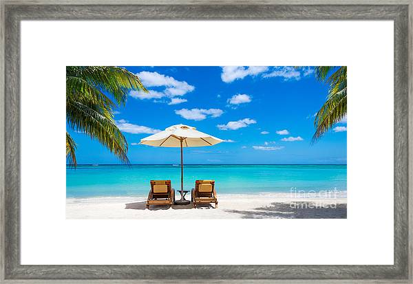 Turquoise Sea, Deckchairs, White Sand Framed Print