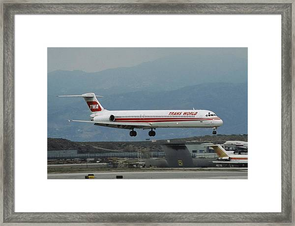 Twa Md-80 Landing At Los Angeles Framed Print