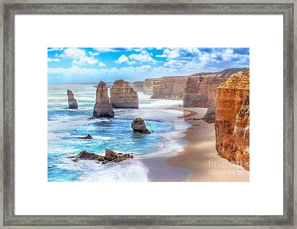 Twelve Apostles And Orange Cliffs Along Framed Print