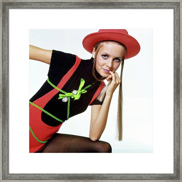 Twiggy With Piaget Watches Framed Print by Bert Stern