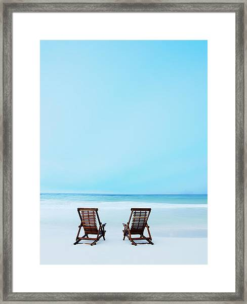 Two Beach Chairs On Tropical Beach At Framed Print