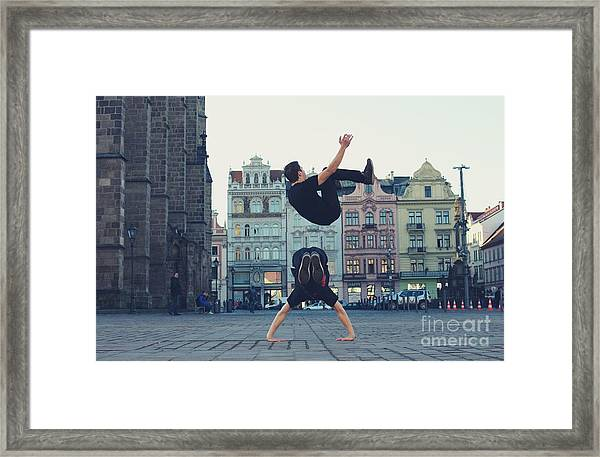 Two Breakdancers Dancing Breakdance On Framed Print