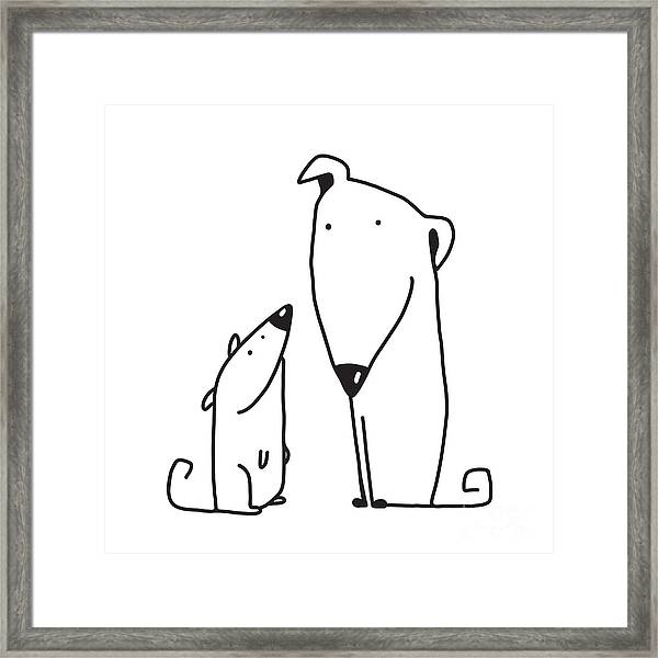 Two Cartoon Brown Dog Parent And Kid Framed Print