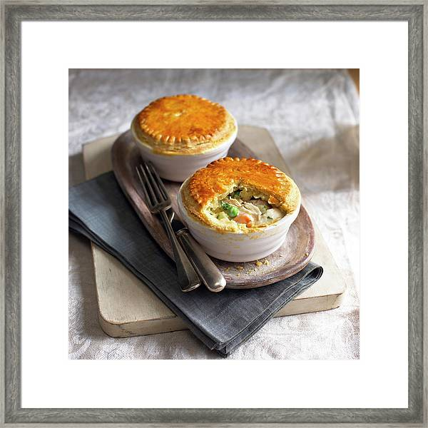 Two Chicken Pot Pies On Serving Tray Framed Print