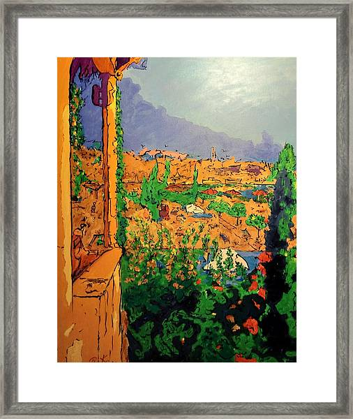 Framed Print featuring the painting Spritz On The Terrace by Ray Khalife